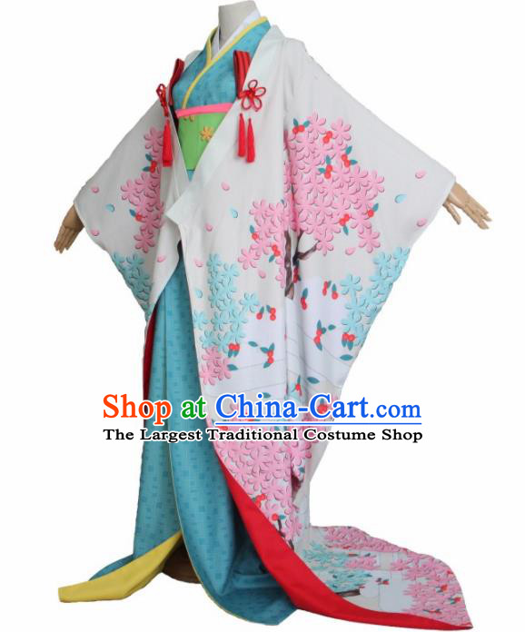 Asian Traditional Furisode Kimono Cosplay Costumes Japanese Ancient Geisha Yukata Clothing for Women