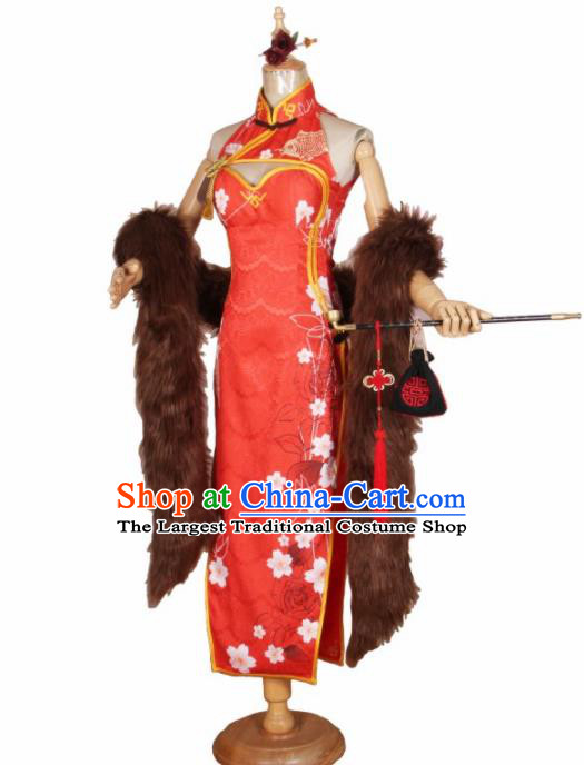Chinese Traditional Cosplay Costumes Cheongsam Red Qipao Dress for Women