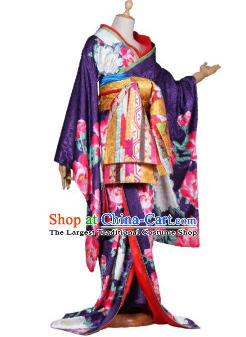 Asian Traditional Purple Furisode Kimono Cosplay Costumes Japanese Ancient Geisha Yukata Clothing for Women