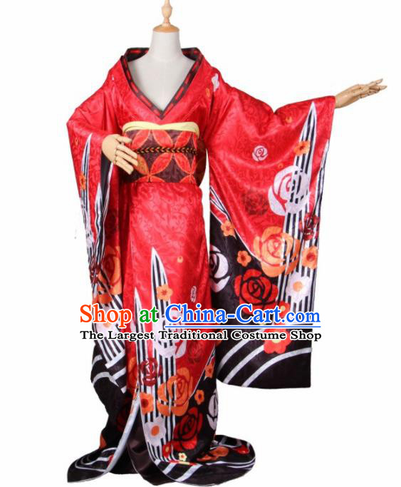 Asian Traditional Red Furisode Kimono Cosplay Costumes Japanese Ancient Geisha Yukata Clothing for Women