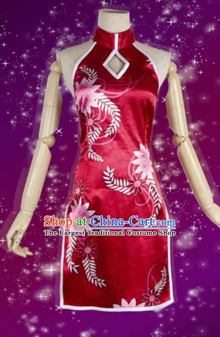 Chinese Traditional Cosplay Costumes Ancient Courtesan Red Silk Qipao Dress for Women