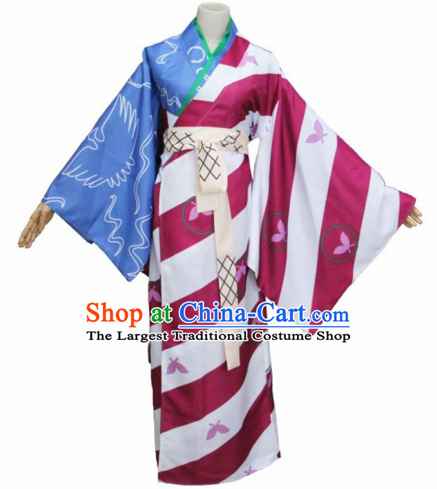 Asian Japanese Traditional Courtesan Costumes Furisode Kimono Ancient Cosplay Geisha Yukata Clothing for Women