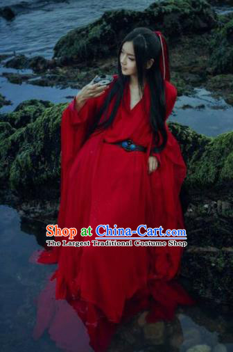 Chinese Traditional Cosplay Costumes Ancient Swordsman Red Clothing for Men