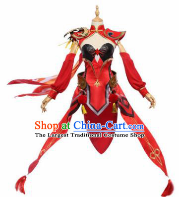 Top Grade Chinese Cosplay Princess Costumes Halloween Cartoon Characters Swordswoman Red Dress for Women