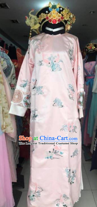 Chinese Traditional Qing Dynasty Costumes Ancient Imperial Consort Embroidered Pink Dress and Headpiece for Women