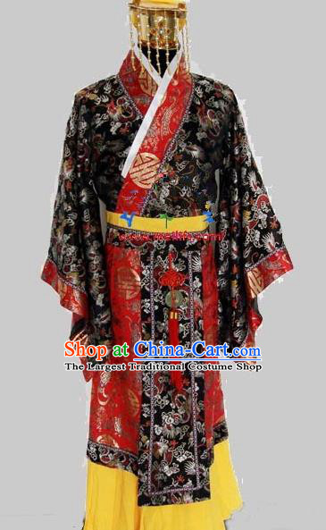 Chinese Traditional Qin Dynasty Emperor Costumes Ancient King Clothing and Headpiece for Men