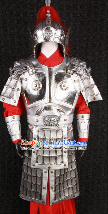 Chinese Traditional Qin Dynasty Warrior Costumes Ancient General Helmet and Armour for Men