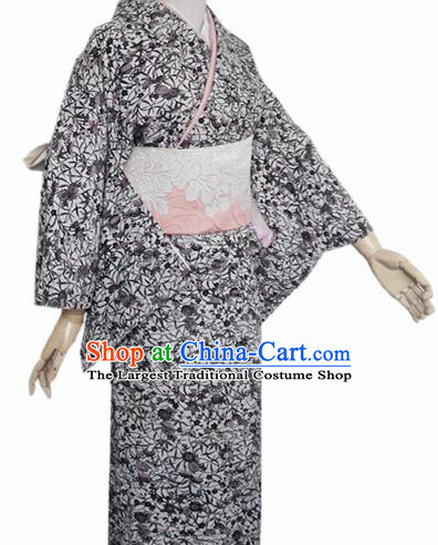 Japanese Traditional Courtesan Furisode Kimono Costumes Ancient Cosplay Grey Yukata Clothing for Women