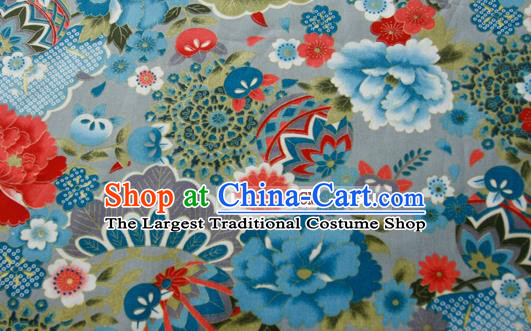 Asian Japanese Traditional Kimono Blue Brocade Fabric Silk Material Classical Peony Pattern Design Drapery