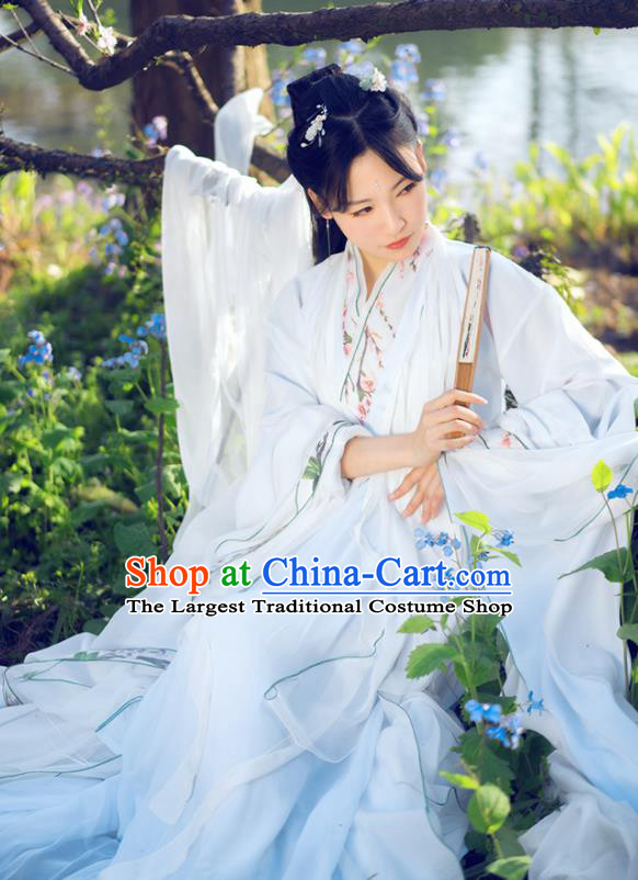 Chinese Traditional Ancient Peri Princess Costumes Jin Dynasty Embroidered White Hanfu Dress for Women