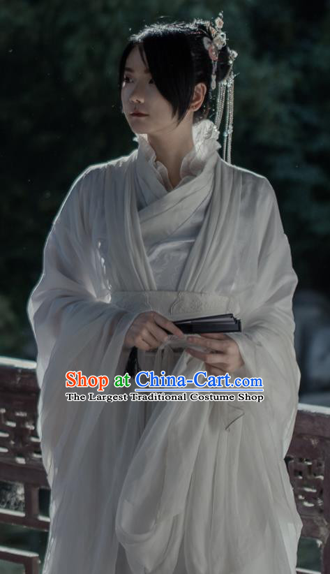 Chinese Ancient Cosplay Swordswoman Costumes Traditional Jin Dynasty Princess Embroidered Hanfu Dress for Women