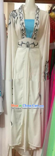 Chinese Traditional Peking Opera Embroidered White Dress Ancient Princess Costumes for Women