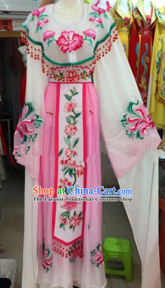 Chinese Traditional Beijing Opera Palace Princess Pink Dress Ancient Peri Embroidered Costumes for Rich