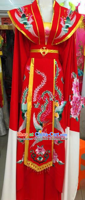 Chinese Traditional Beijing Opera Empress Red Dress Ancient Queen Peri Embroidered Costumes for Rich