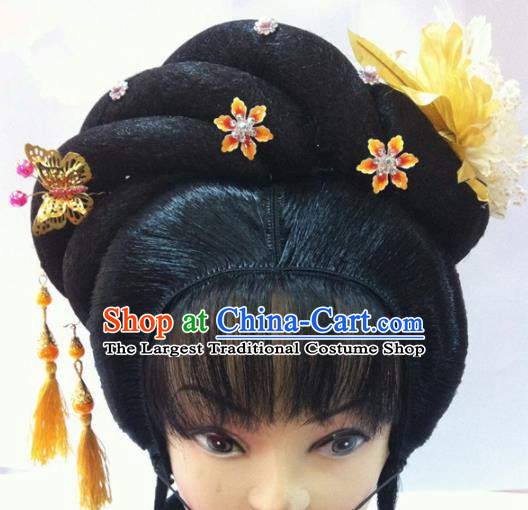 Chinese Traditional Ancient Beijing Opera Diva Wig Sheath and Hairpins Hair Accessories for Women