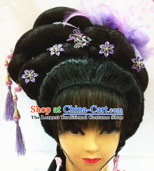 Chinese Traditional Beijing Opera Hair Accessories Ancient Princess Wig Sheath and Purple Feather Hairpins for Women
