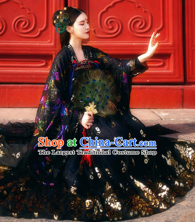 Chinese Ancient Royal Embroidered Costumes Traditional Tang Dynasty Imperial Consort Black Hanfu Dress for Women
