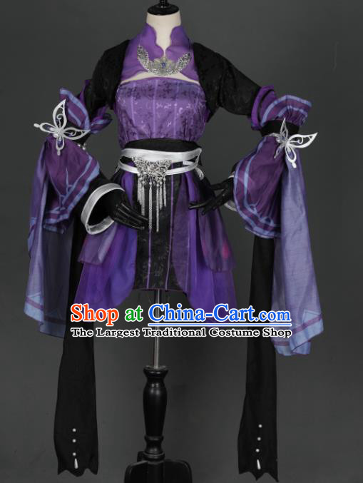 Traditional Chinese Cosplay Female Swordsman Purple Hanfu Dress Ancient Heroine Costume for Women