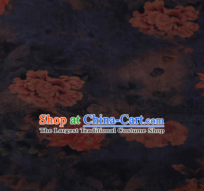 Chinese Traditional Silk Fabric Classical Peony Pattern Satin Plain Cheongsam Drapery Gambiered Guangdong Gauze