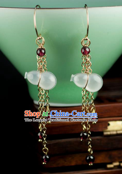 Chinese Traditional Jewelry Accessories Ancient Hanfu Jadeite Calabash Earrings for Women