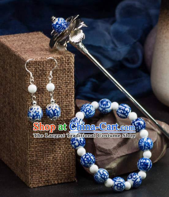 Chinese Traditional Hanfu Hair Accessories Ancient Blue Beads Ceramics Hairpins and Bracelet Earrings for Women