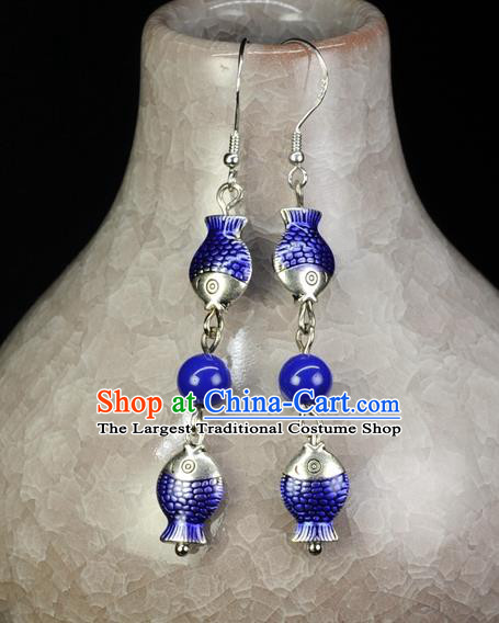 Chinese Traditional Jewelry Accessories Ancient Hanfu Cloisonne Cloisonne Fishes Tassel Earrings for Women