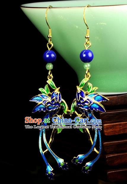 Chinese Traditional Jewelry Accessories Ancient Hanfu Cloisonne Cloisonne Phoenix Tassel Earrings for Women