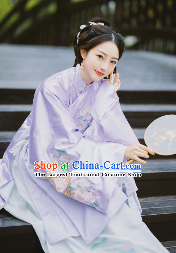 Chinese Ming Dynasty Palace Princess Purple Hanfu Dress Traditional Ancient Nobility Lady Embroidered Costumes for Women