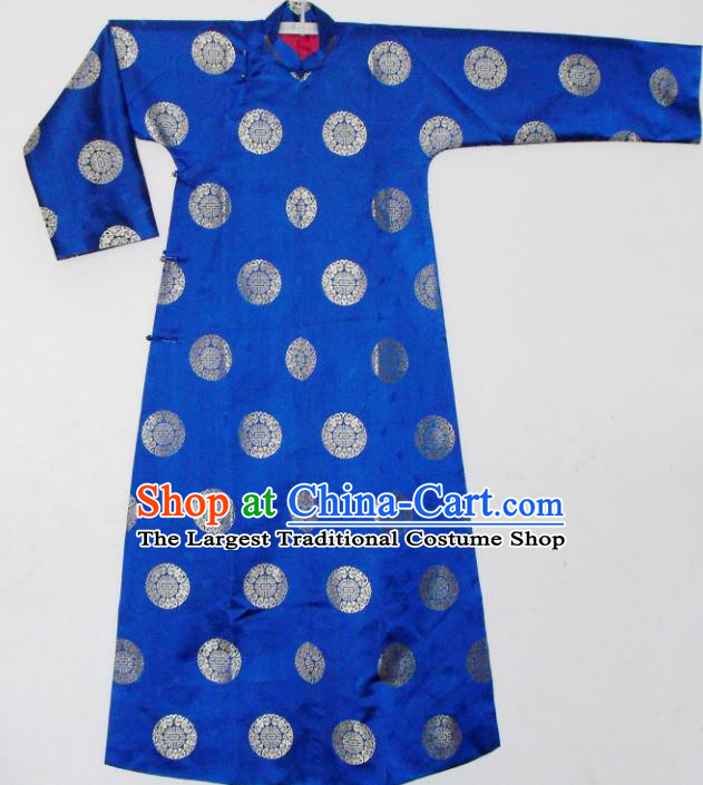 Chinese Traditional Qing Dynasty Prince Embroidered Costume Ancient Blue Mandarin Robe for Men