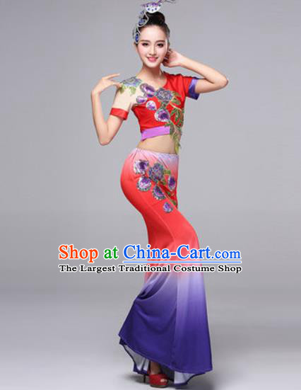 Chinese Traditional Dai Ethnic Costumes Minority Nationality Folk Dance Pavane Red Dress for Women