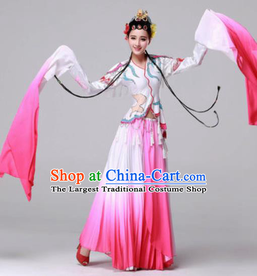 Traditional Chinese Yangko Dance Classical Dance Fan Dance Pink Costume for Women