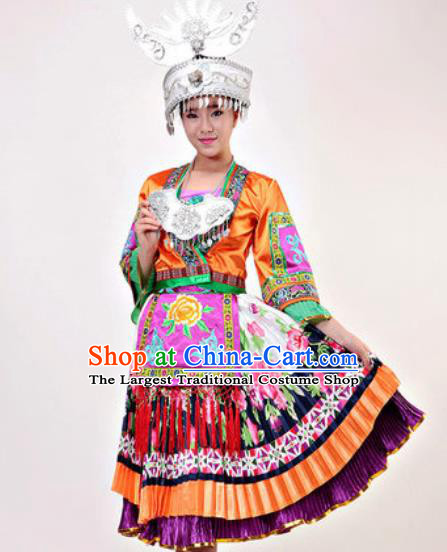 Chinese Traditional Miao Ethnic Costumes Hmong Minority Folk Dance Orange Dress for Women