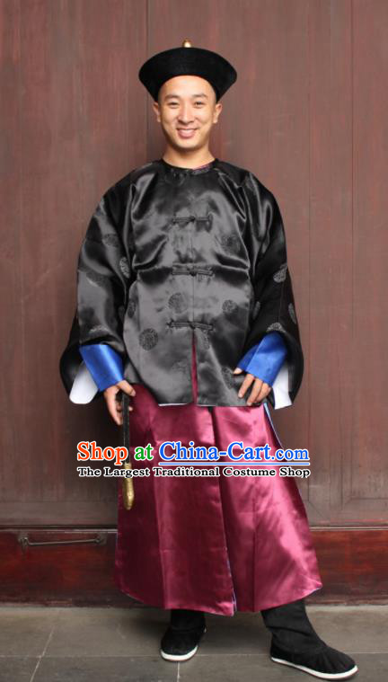 Chinese Traditional Ancient Qing Dynasty Imperial Bodyguard Embroidered Costume for Men