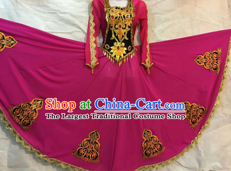 Chinese Traditional Xinjiang Uigurian Ethnic Rosy Costumes Uyghur Minority Folk Dance Dress for Women