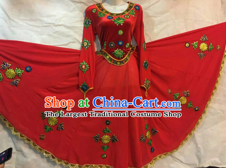 Chinese Traditional Xinjiang Uigurian Ethnic Red Costumes Uyghur Minority Folk Dance Dress for Women