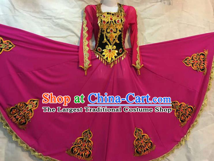 Chinese Traditional Uigurian Nationality Ethnic Costumes Xinjiang Uyghur Minority Folk Dance Rosy Dress for Women