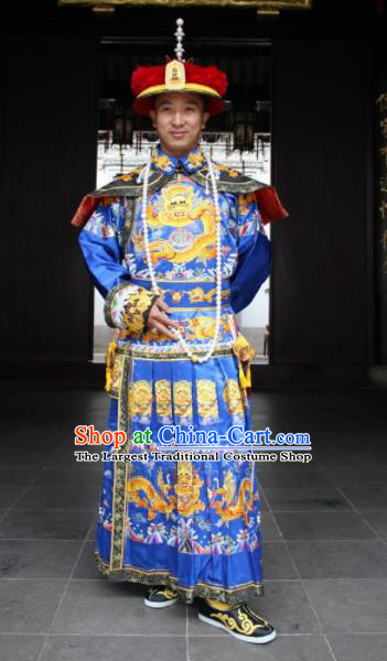 Chinese Traditional Ancient Qing Dynasty Manchu Emperor Embroidered Costumes and Hat for Men