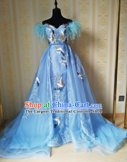 Top Grade Modern Dance Full Dress Stage Performance Embroidered Cranes Costume for Women