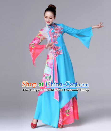 Traditional Chinese Classical Dance Blue Dress Stage Performance Folk Dance Costume for Women