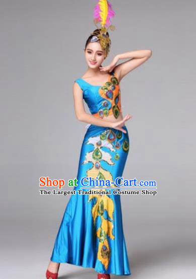 Traditional Chinese Classical Dance Blue Dress Peacock Dance Folk Dance Costume for Women