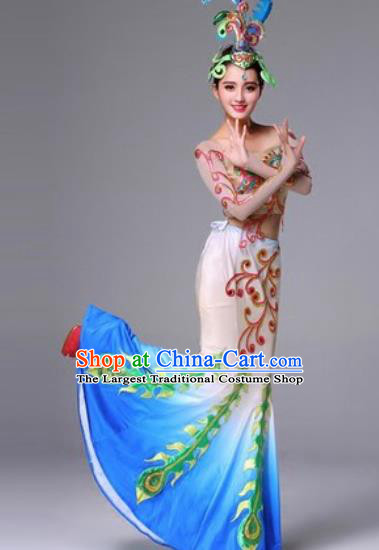 Chinese Traditional Dai Ethnic Costumes Minority Nationality Folk Dance Pavane Dress for Women