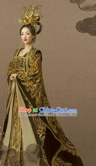 Chinese Ancient Tang Dynasty Empress Hanfu Dress Embroidered Costumes and Headpiece Complete Set for Women