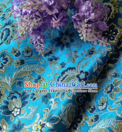 Chinese Traditional Tang Suit Lake Blue Brocade Classical Pattern Dragons Design Silk Fabric Material Satin Drapery