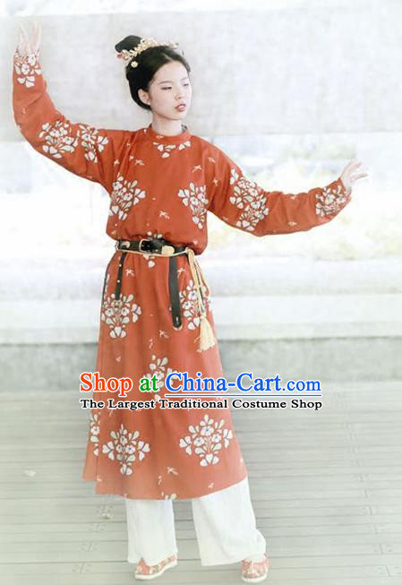 Traditional Chinese Tang Dynasty Female Swordsman Replica Costumes Ancient Imperial Bodyguard Round Collar Robe for Women