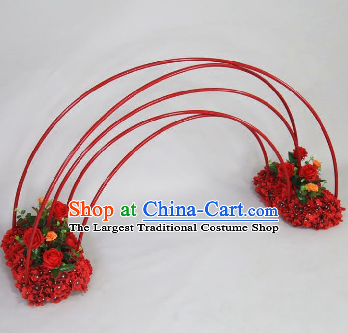 Chinese Traditional Wedding Rainbow Bridge Films Props Iron Red Decoration