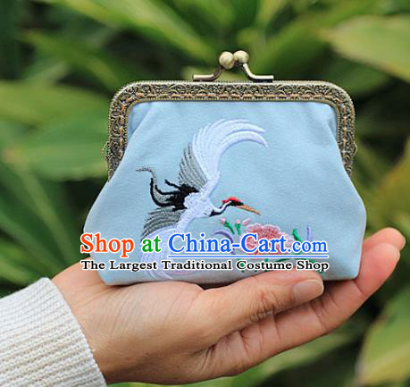 Chinese Traditional Handmade Embroidered Crane Flower Blue Wallet Retro Coin Purse Handbag for Women