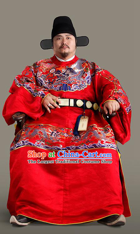 Chinese Traditional Ming Dynasty Prime Minister Clothing Ancient Chancellor Embroidered Costumes for Men