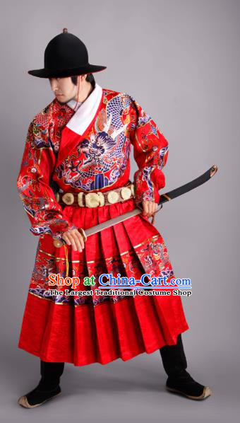 Chinese Traditional Ming Dynasty Swordsman Clothing Ancient Imperial Bodyguard Embroidered Costumes for Men