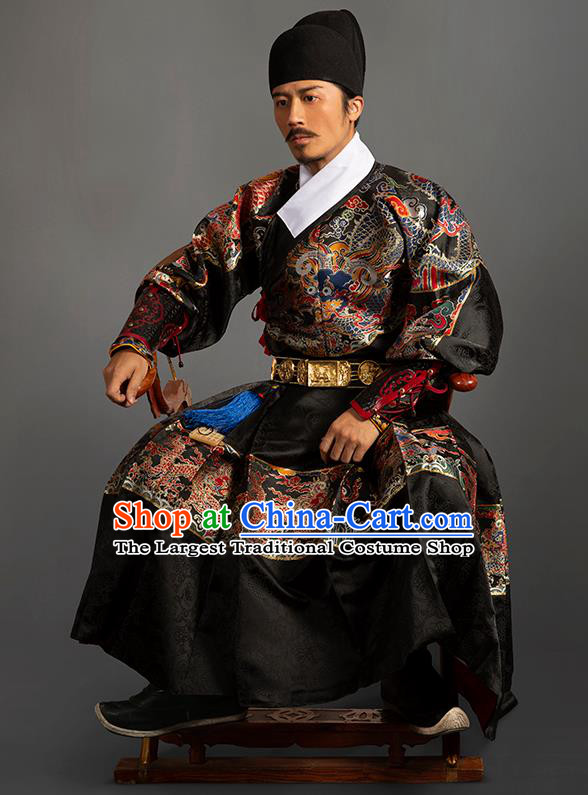 Chinese Traditional Ming Dynasty Blades Clothing Ancient Imperial Guards Embroidered Black Costumes for Men
