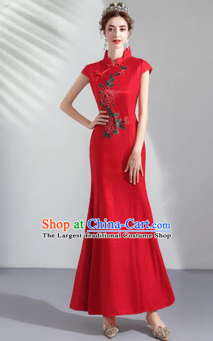 Chinese Traditional Wedding Cheongsam Embroidered Costume Compere Red Full Dress for Women
